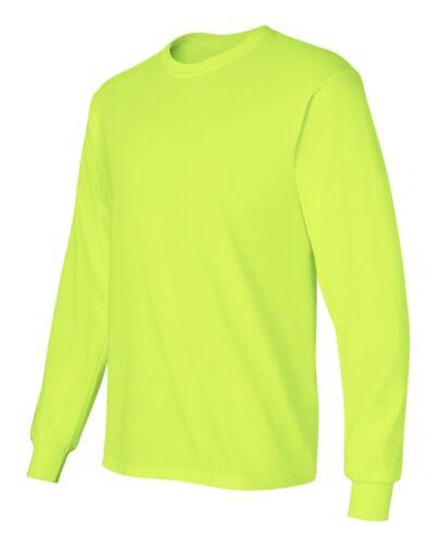 6 Gildan ANSI Safety Green Long Sleeve T-Shirt S-5XL HIGH VISIBILITY Bulk Lot