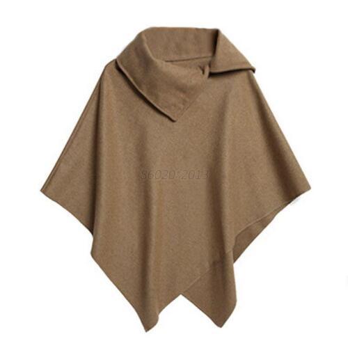 Ladies Winter Batwing Poncho Winter Cardigan Coat Jacket Loose Cloak Cape Parka