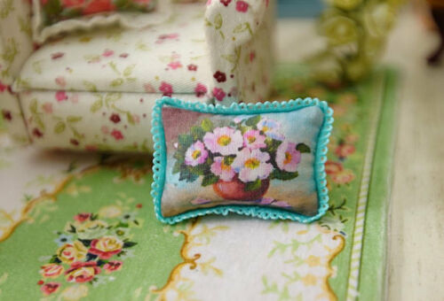 Chic Shabby Floral In Urn 1:12 Scale Miniature Pillow For Dollhouse