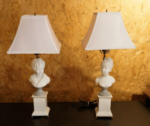 Details About Pair Of F Kessler Porcelain Figural Table Top Electric Lamps C1950 W Shades