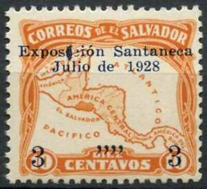 El-Salvador-1928-SG-764-3c-On-10c-Orange-MNH-ERROR-E13805