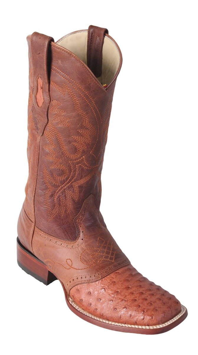 LOS ALTOS COGNAC GENUINE OSTRICH SQUARE TOE WESTERN COWBOY BOOT EE 8210303