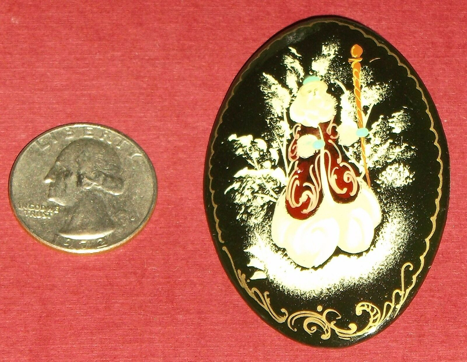 Vintage metal pin Badge  from USSR. The Russian children fairy tale The Rabbit  and  the Bob