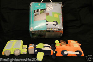 Tiddliwinks Come Ride With Me Crib Bumper + 6 fabric wall hangings #B1-35