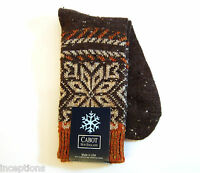 Cabot Vermont Ladies Crew Boot Socks Snowflake Fair Isle Brown Rust -