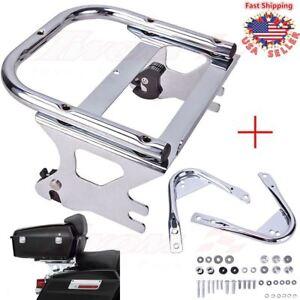 Detachable-Two-up-Tour-Pak-Pack-Mount-Rack-For-Harley-97-08-Docking-Hardware-Kit