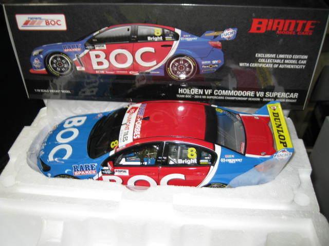 BIANTE 1/18 JASON BRIGHT BOC #8 HOLDEN VF COMMODORE 2015 V8 SUPERCAR #B18H15C