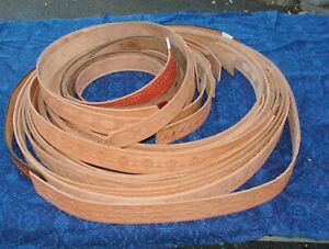 Lot-of-24-raw-leather-belts-with-tooled-patterns-Great-belt-material