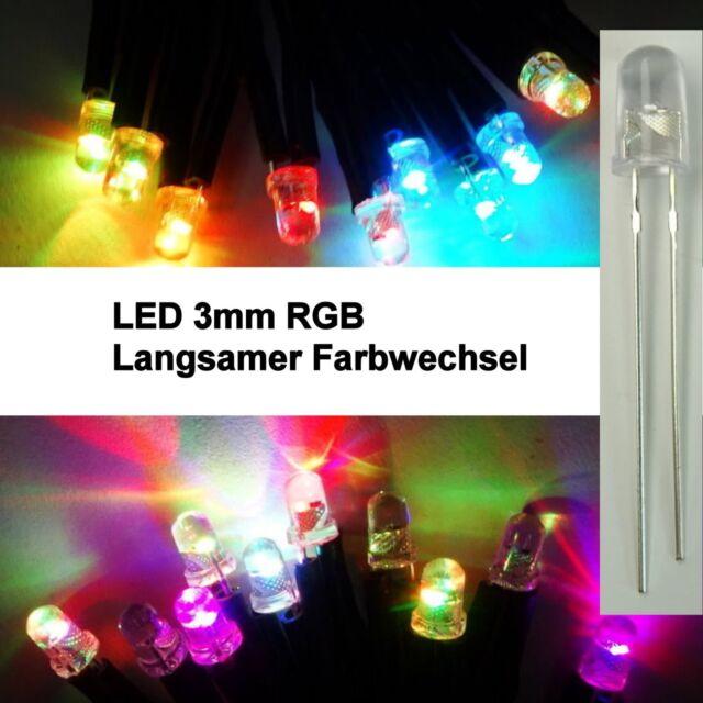 50 St 5mm RGB LED LANGSAMER FARBWECHSEL ULTRAHELL