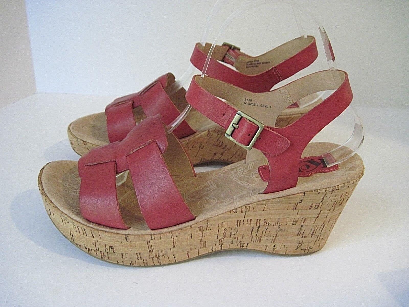 forma unica Korks by by by Kork-Ease DELLA rosa Leather Platform Wedge Sandals Dimensione 8  EU 39  nuovi prodotti novità