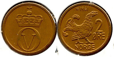 KM410 Norway 1970 /& 1971 /& 1972 2 Ore 3 Coin Set