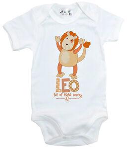 Dirty-Fingers-034-Leo-Full-of-Roar-Energy-034-Bodysuit-Baby-Zodiac-Star-Sign-Lion