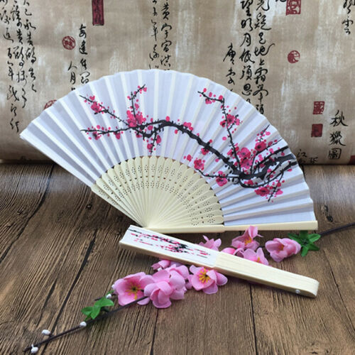 Folding Chinese Flower Fan Wedding Dancing Party Decor Lace Silk Hand Held XS