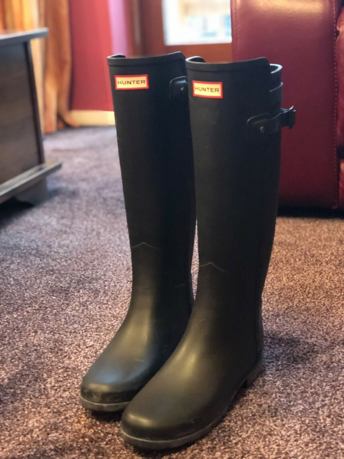 HUNTER Knee High Wellington Boots Size 40 UK 7 Logo Buckle Strap Details Pull On
