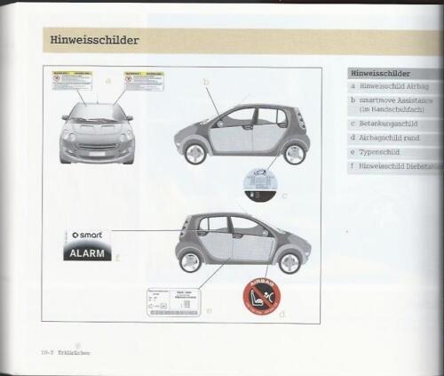 SMART FORFOUR tipo 454 manuale di istruzioni manuale d/'uso manuale bordo libro BA