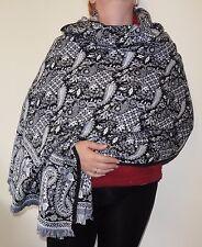 Black & White Paisley Floral Indian Made Soft Acrylic Large Shawl/Blanket (BWP2)