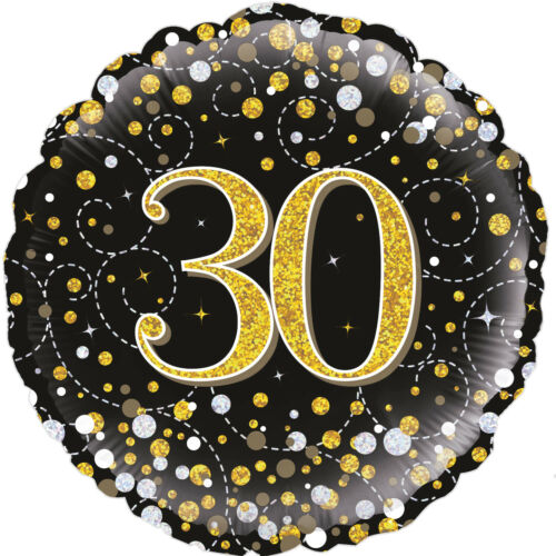 "18/"" 30th AGE 30 HELIUM FOIL BALLOON BIRTHDAY PARTY BLACK GOLD FIZZ oak 227253"