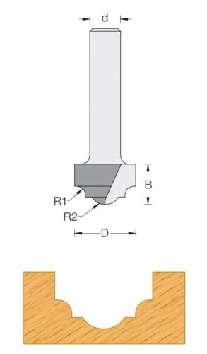 Fraise carbure pour défonceuse Q8 Moulure décorative 19 mm ref 48