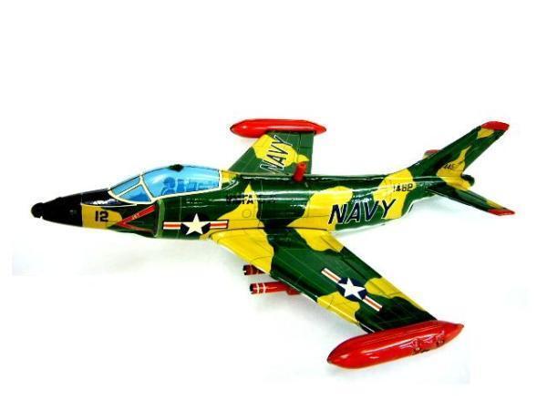 Antiguo Vintage Avión de Combate Azul Marino 594ms Hojalata Projootipo Fricción