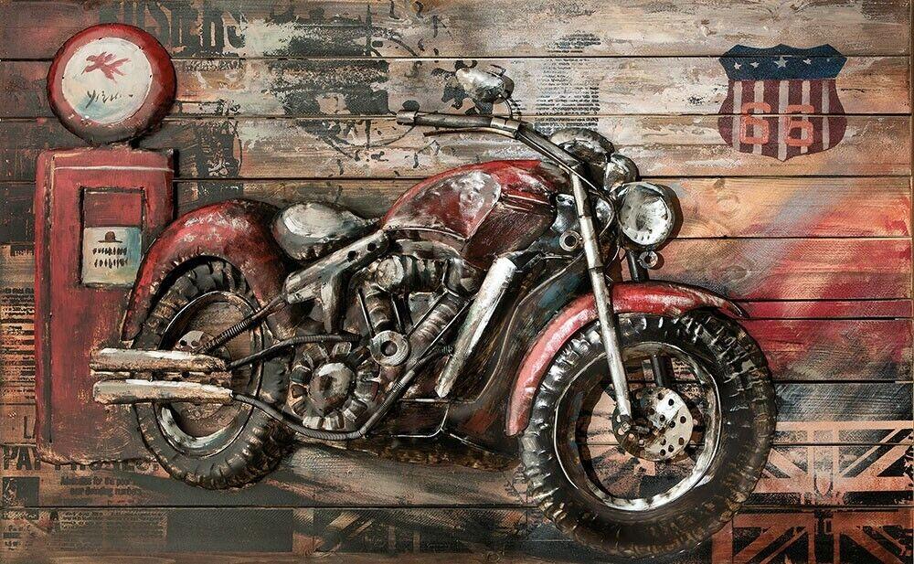 Metall - Wandbild  Rotes Motorrad - Beast  mit Holz