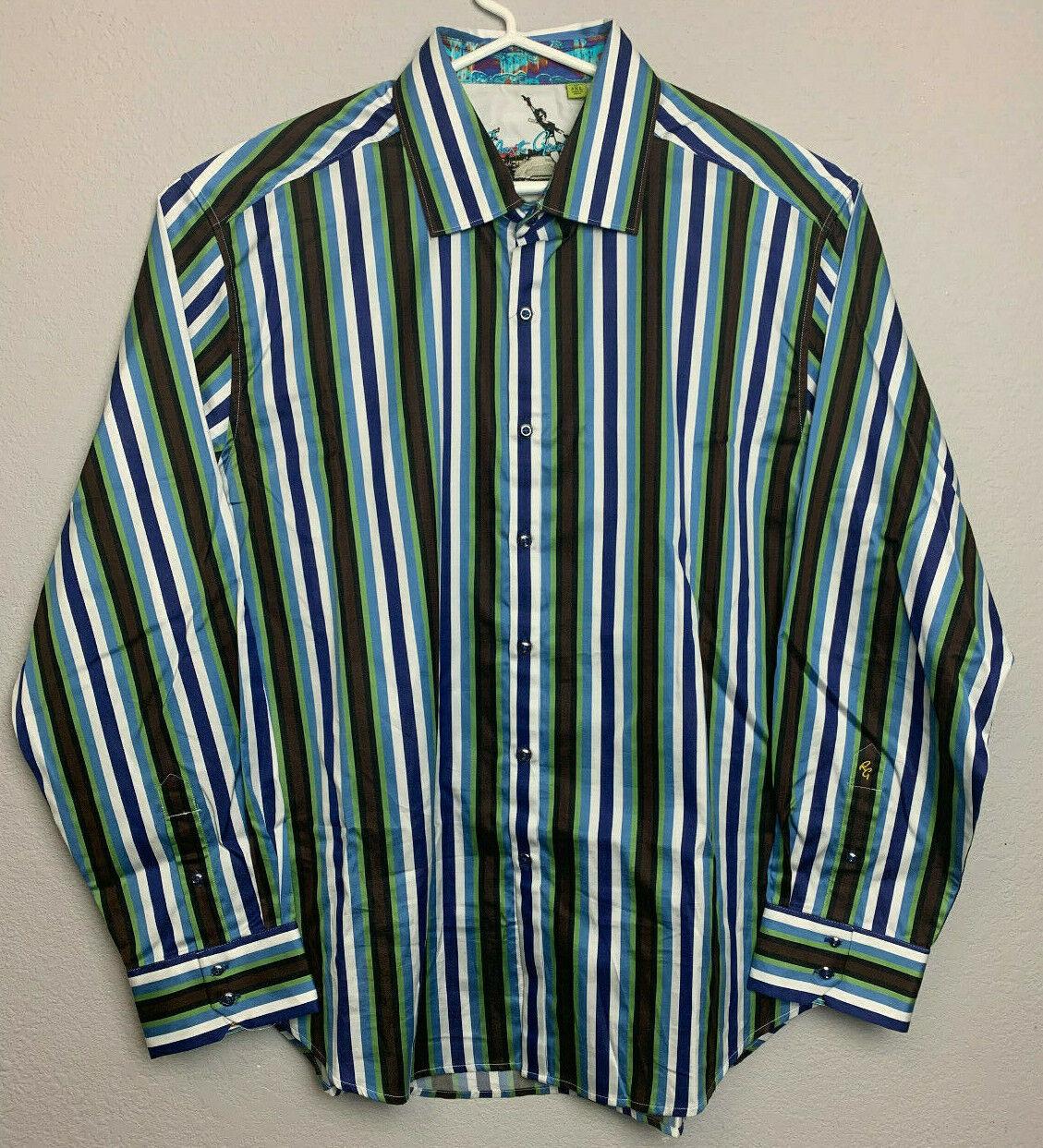 Robert Graham Mens Long Sleeve Button Front Stripe Shirt 3XL bluee Green