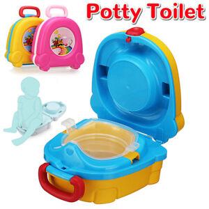 Toilette-Bambini-Portatile-Vasino-Viaggio-WC-Bimbi-Plastica-Trasportare-Sedia