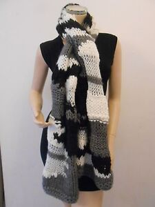2e423a2d28f0c Topshop Girls Ladies Warm Thick Knit Grey White Wool Scarf Wrap £30 ...