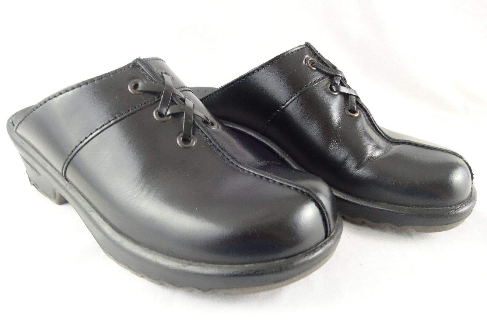 SANITA Black Leather Clogs Mules shoes Loafers Women's 36 5.5