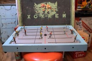 Table-Hockey-Game-Made-in-Russian-Aristospel-Style-Very-Rare-1950s