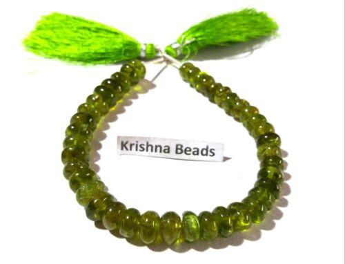"""119Cts Natural Peridoto Rondelle Suave 7-9mm piedras preciosas perlas de 7/"""" Pulgadas Peridoto Verde"""