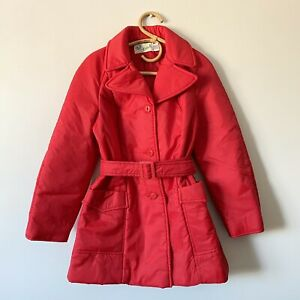 Size-16-Ladies-Vintage-60s-OUT-N-ABOUT-Red-Puffer-Belted-Coat