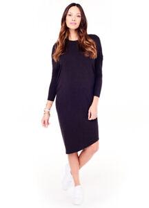 Ingrid & Isabel Maternity Long Sleeve, Charcoal Asymmetrical Hem Dress Small 4 6