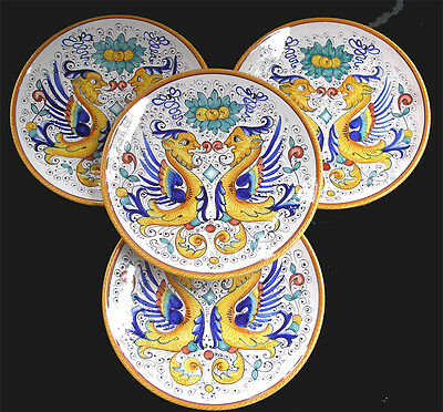 RAFFAELLESCO DERUTA PATTERN NEW SET OF 4 BIG PLATES  HAND PAINTED MADE IN ITALY