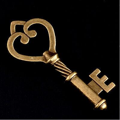 Skeleton Keys Steampunk Antiqued Bronze Heart Design 1-7/8 Inch Lot of 4