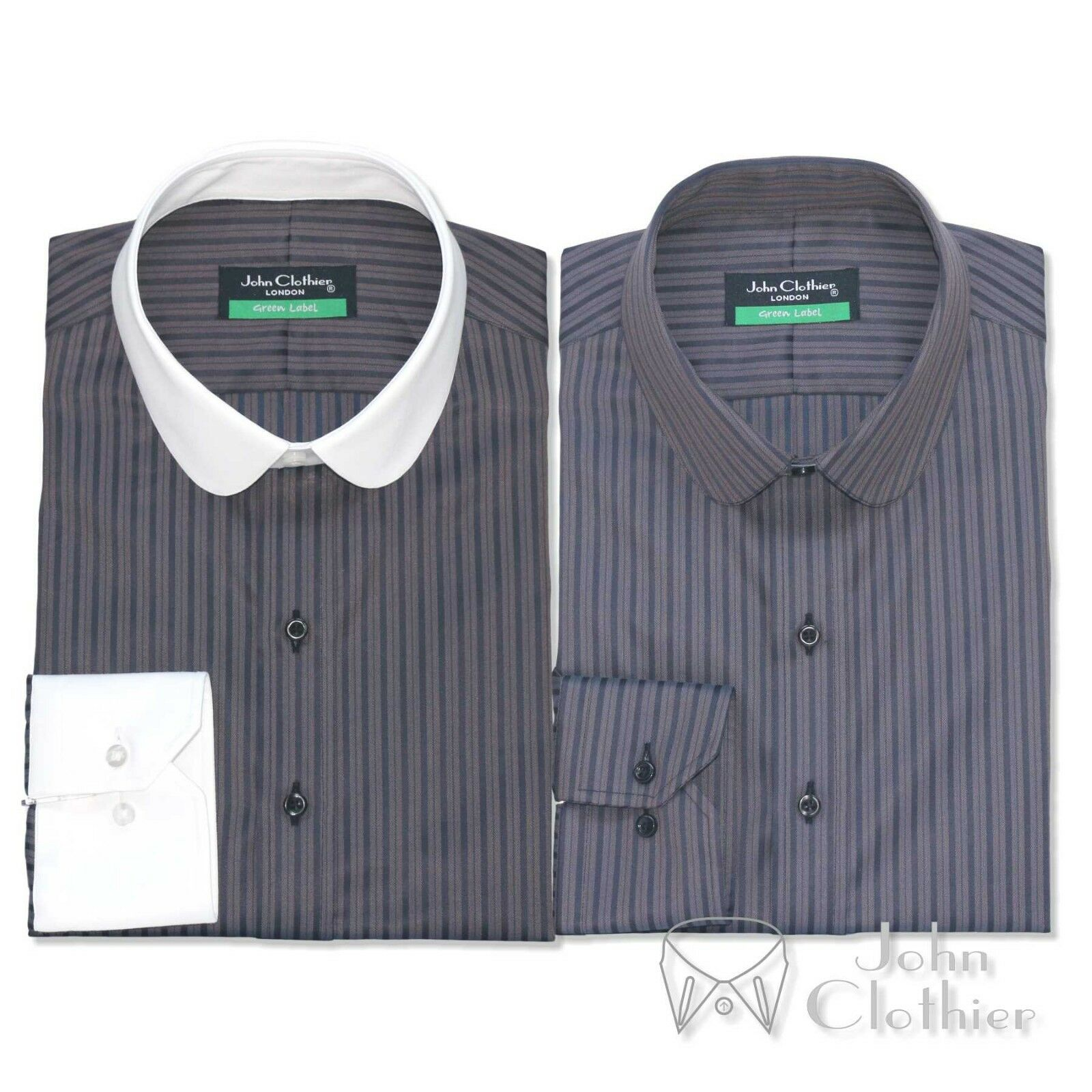 Herren Penny collar 100% Cotton shirt Grau texture Bankers Weiß Club Round Gents