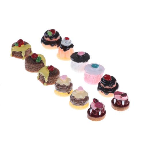 5pcs Dessert 3D Resin Vanilla Chocolates Cakes Miniature food YL