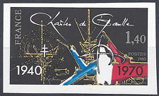 FRANCE CHARLES DE GAULLE N°2114 TIMBRE NON DENTELÉ IMPERF 1980 NEUF ** MNH