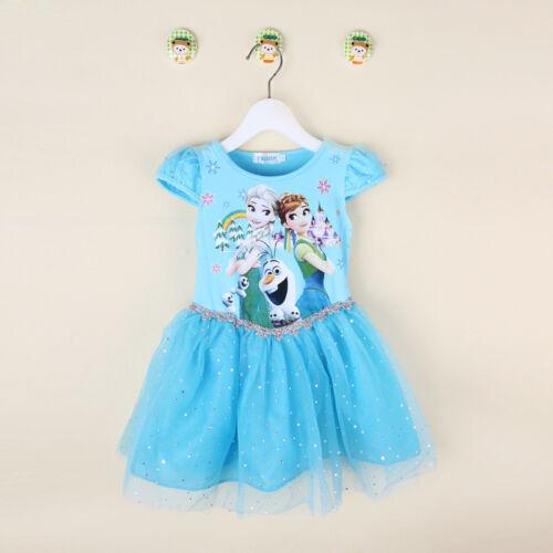 Gorgeous Kids Girls Dress Frozen Queen Elsa Princess Anna Party Dress  K43