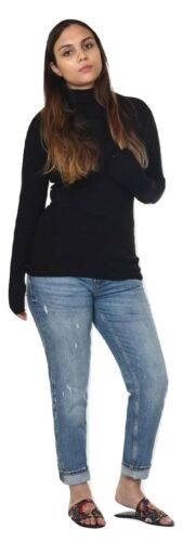 Ladies New Plain Turtle Polo Roll Neck Long Sleeve Stretch Jumper T-Shirt Tee To