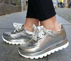CAFeNOIR-Schuhe-IDB253-204-Silver-Damen-Echtleder-Plateau-Made-in-Italy-Gr-37