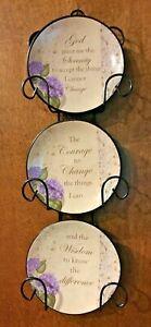 Serenity Prayer Miniature Plate Rack 3 Plates Vintage Brand New Motivational