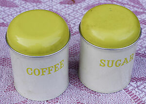 PAIR-OF-VINTAGE-METAL-STORAGE-TIN-CONTAINERS-KITCHENALIA-coffee-and-sugar