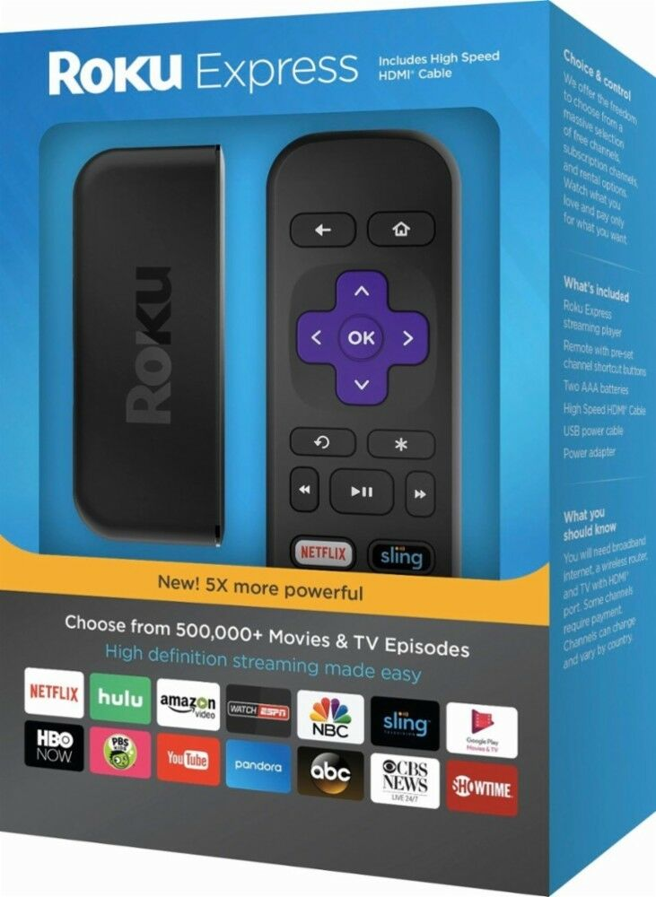 Roku Express 1080p Full HD Media Streaming Player 2017 Model - 3900R