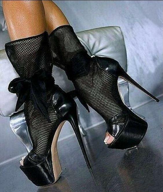 Mesh Stiletto Platform Bow donna  Peep Toe Sexy Club Ankle stivali nero Sandals  liquidazione