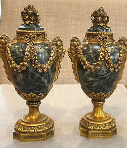 19th-C-French-RAINGO-FRERES-Brass-amp-Marble-Ormolu-Urns-Garnitures-Paris-8-75