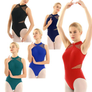Lady-Girls-Sleeveless-Mesh-Dance-Leotard-Gymnastics-Ballet-Dancewear-Unitards