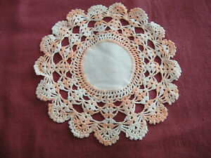 "Vintage 7"" Fabric Center Crochet Edging Round Doily White Peach Variegated"
