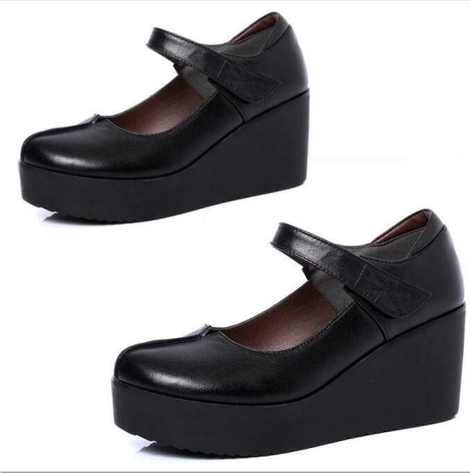 Femme Casual Business travail Wedge Talons Hauts Plateforme Bracelet en cuir Creeper pompe chaussures
