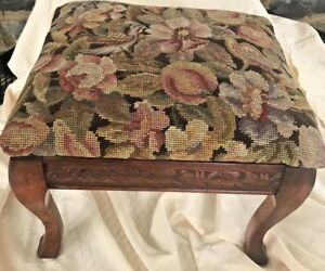 Antique-Footstool-Wool-Needlepoint-Floral-amp-Wood-12-034-Tall