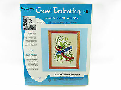 Vintage Erica Wilson Blue Jay Bird Hiawatha Crewel Embroidery Kit 1969 Sealed